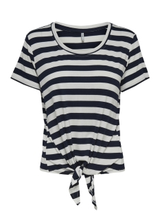 Only T-shirt NLARLI S/S KNOT TOP JRS NOOS 15178088 Cloud Dancer/NIGHT SKY