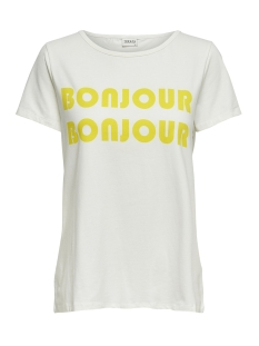 Jacqueline de Yong T-shirt JDYBILLIE TREATS S/S  PRINT TOP JRS 15174396 Cloud Dancer/BONJOUR