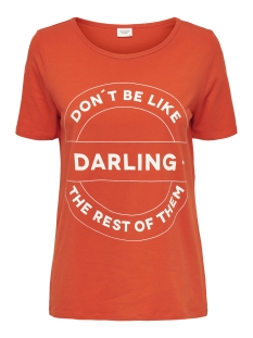 Jacqueline de Yong T-shirt JDYBILLIE TREATS S/S  PRINT TOP JRS 15174396 Orange Com/CLOUD DANCER