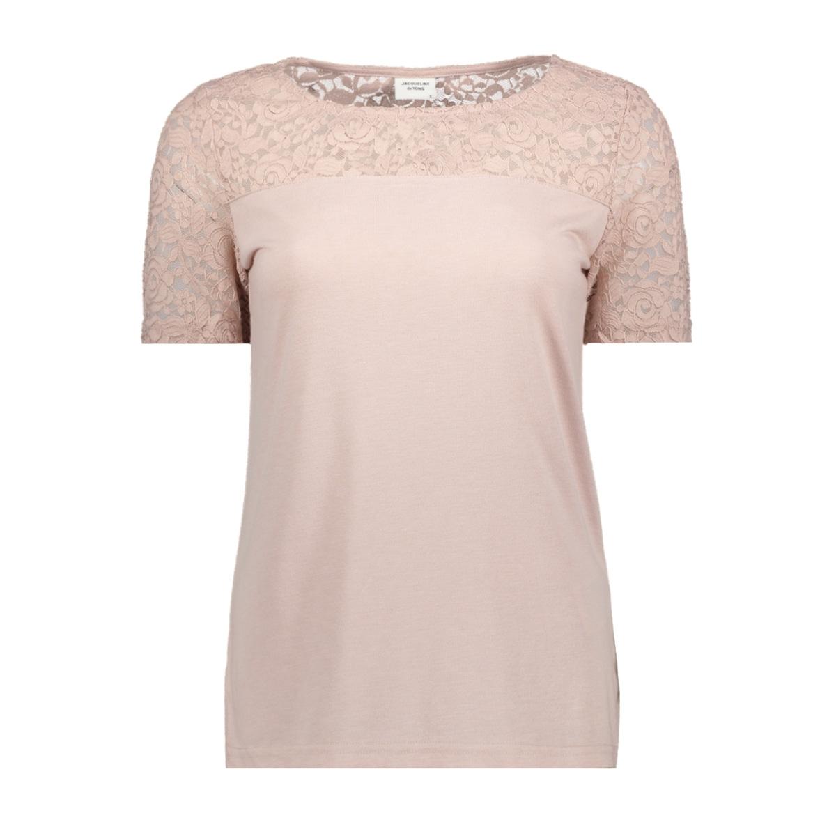 jdykimmie s/s top jrs 15161149 jacqueline de yong t-shirt shadow gray/dtm lace