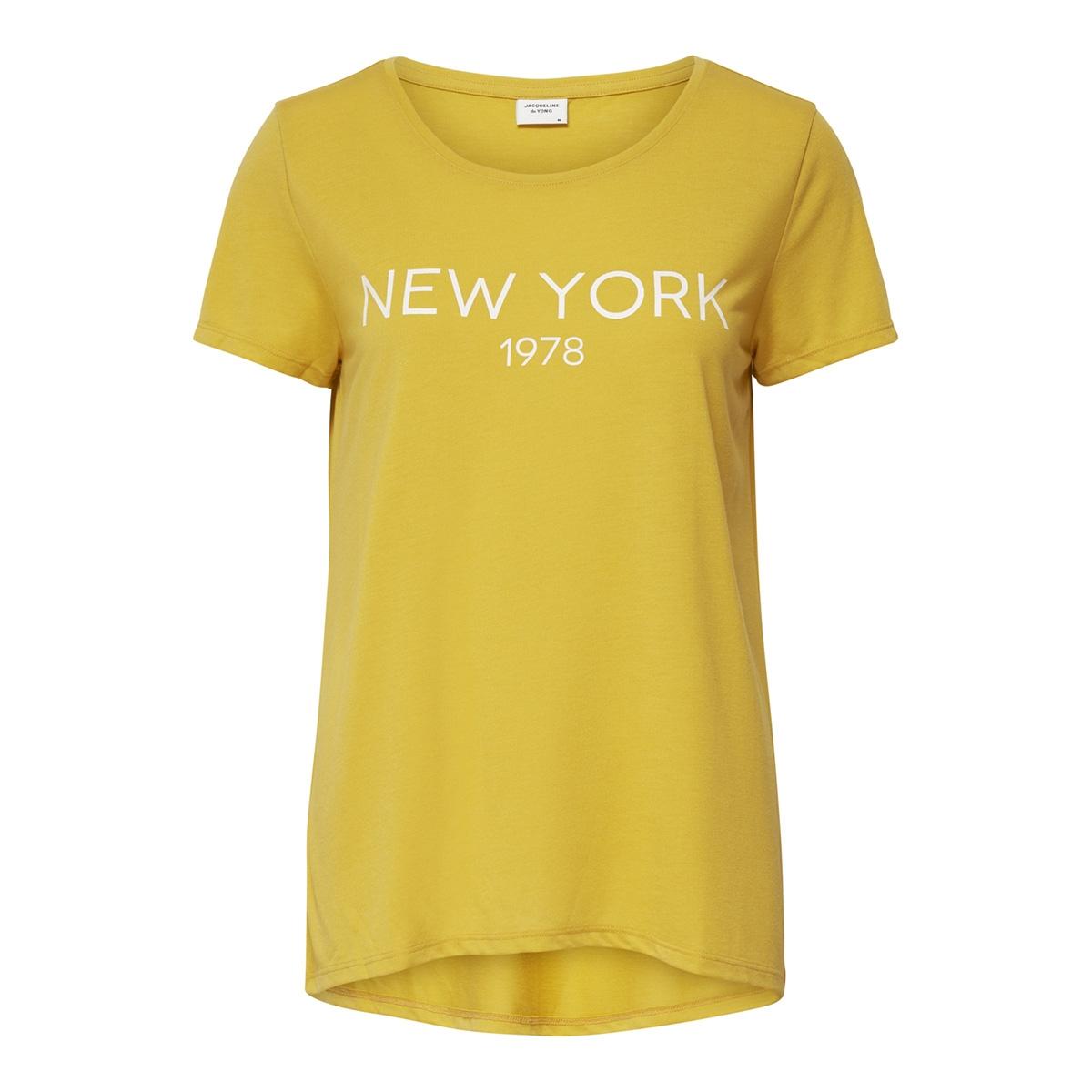 jdycity icon print s/s top jrs 15175243 jacqueline de yong t-shirt spicy mustard/new york 1