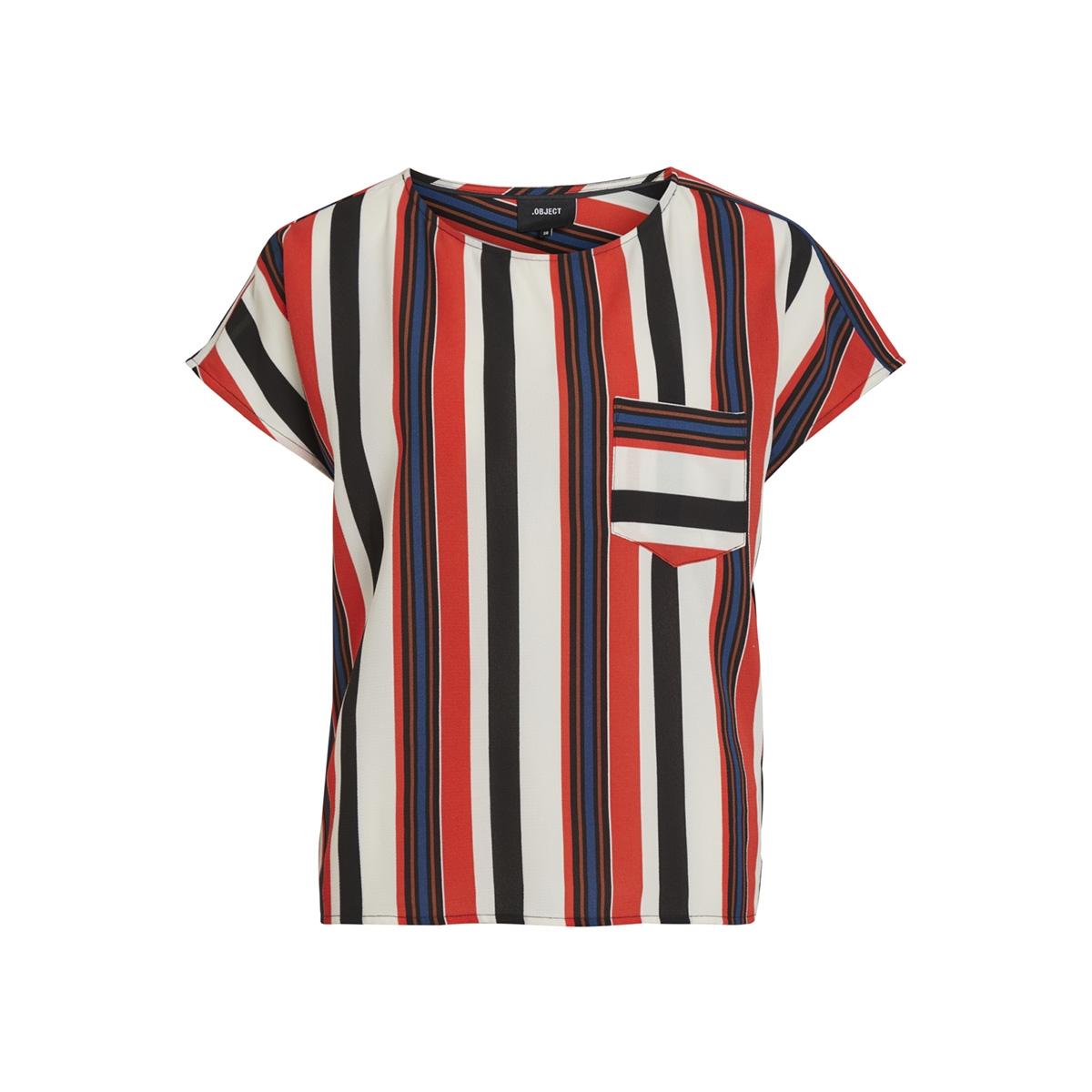 objtess karen s/s top rep 23027226 object t-shirt black/poppy red