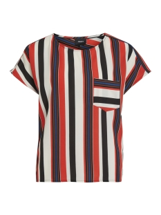 Object T-shirt OBJTESS KAREN S/S TOP REP 23027226 Black/POPPY RED