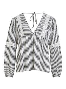 vielvira l/s  top 14053643 vila t-shirt cloud dancer/navy blazer