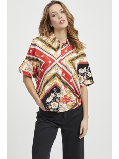 objdina s/s shirt top 103 23029547 object blouse poppy red/aop