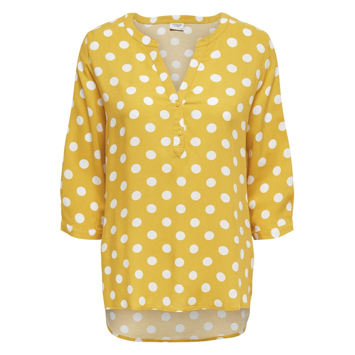 jdystar 3/4 placket top wvn1 fs 15171537 jacqueline de yong blouse spicy mustard/ cloud dancer