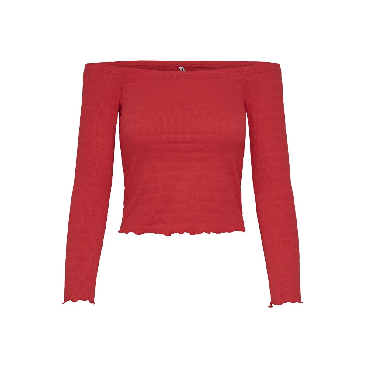 onlolivia l/s off shoulder top jrs 15176628 only t-shirt high risk red