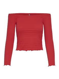 Only T-shirt ONLOLIVIA L/S OFF SHOULDER TOP JRS 15176628 High Risk Red