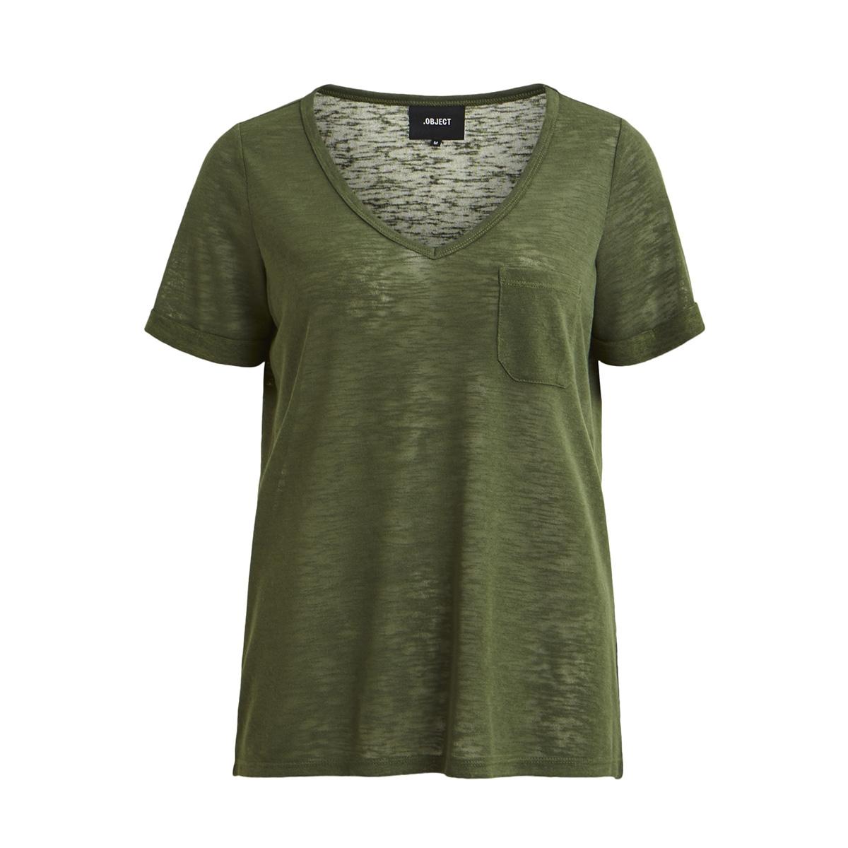 objtessi slub s/s v-neck seasonal 23026968 object t-shirt black forest