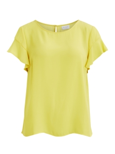 Vila T-shirt VILUCY S/S FLOUNCE TOP - FAV 14045856 Goldfinch