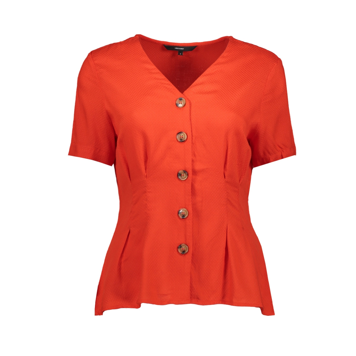 vmcandice s/s midi button shirt wvn 10213485 vero moda blouse fiery red