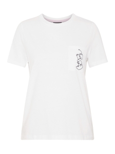 nmsara s/s emb. t-shirt ssx3 bg 27007705 noisy may t-shirt bright white/pocket w.