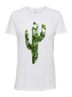 onlcaty s/s cactus/corn box co/sl j 15179884 only t-shirt bright white/cactus