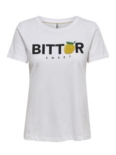 onlkita reg s/s lemon box co jrs 15179442 only t-shirt bright white/bitter