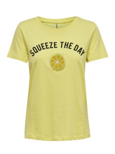 Only T-shirt ONLKITA REG S/S LEMON BOX CO JRS 15179442 Popcorn/SQUEEZE