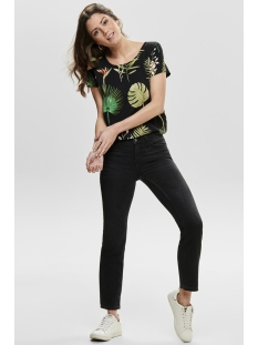 onlfirst ss mix aop top  noos wvn 15138761 only t-shirt black/open leaf