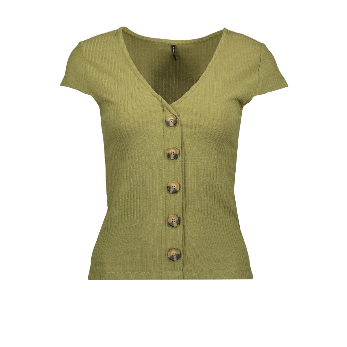 onlnella s/s button top jrs 15181030 only t-shirt martini olive