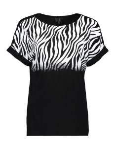 Vero Moda T-shirt VMSIRI S/S ANIMALPRINT BLOUSE EXP 10222439 Black/ZEBRA SNOW WHITE