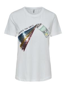 Only T-shirt ONLCOLLIE REG S/S SPRAY/SMILE BOX C 15179459 Bright White