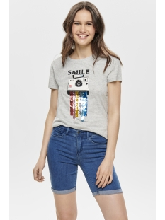 onlcollie reg s/s spray/smile box c 15179459 only t-shirt light grey melange