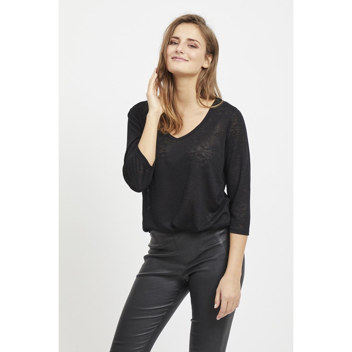 objtessi slub 3/4 top noos 23028539 object t-shirt black