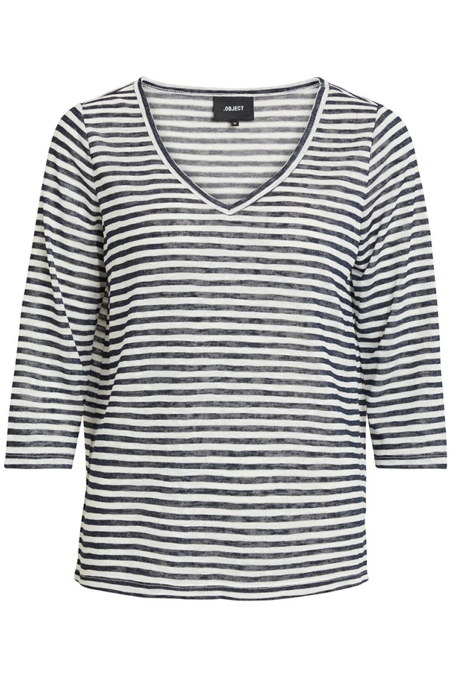 objtessi slub 3/4 top noos 23028539 object t-shirt sky captain/with white