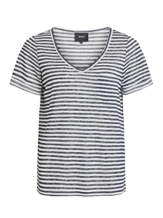 objtessi slub s/s v-neck noos 23023816 object t-shirt sky captain/white stripes