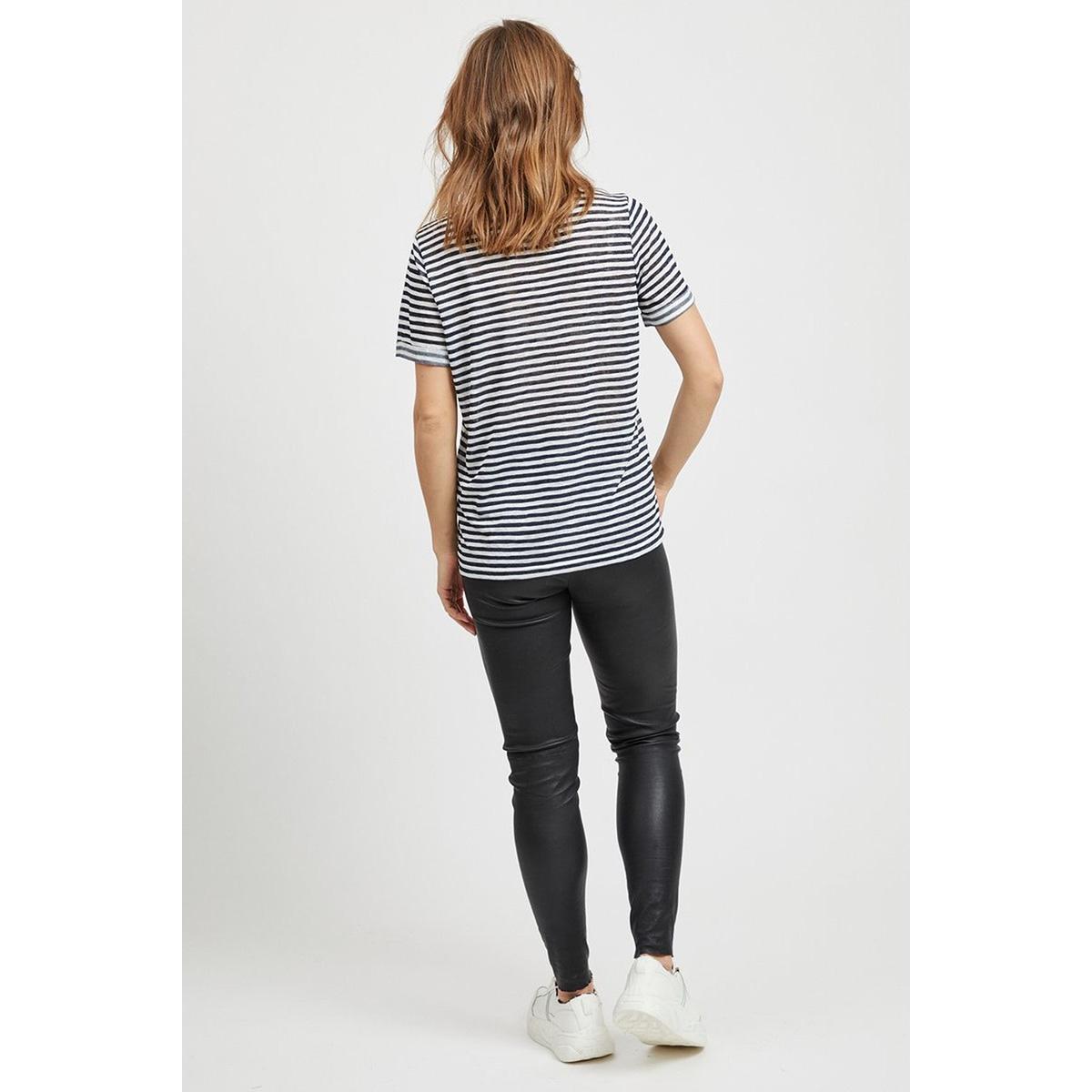 objtessi slub s/s v-neck noos 23023816 object t-shirt sky captain/white stripes
