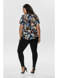 carluxsaint ss top aop 15176813 only carmakoma t-shirt black/leafes