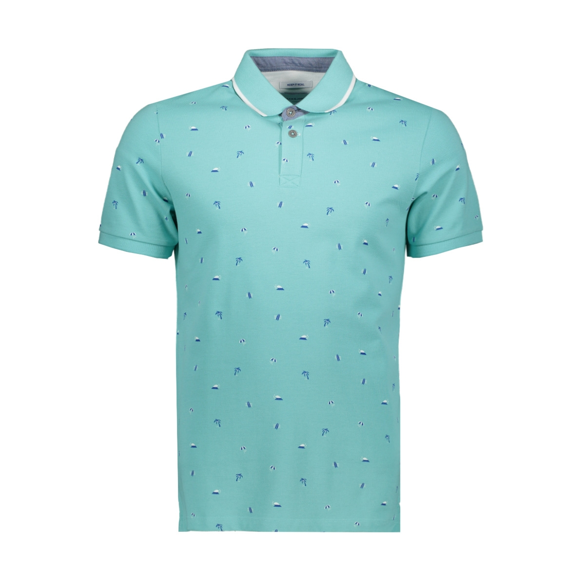 jorstormy polo ss 12157433 jack & jones polo aqua sky