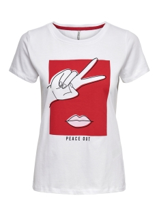 Only T-shirt ONLFANCY FIT S S FACE TOP BOX CO JR 15182747 Bright White/PEACE