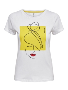 Only T-shirt ONLFANCY FIT S S FACE TOP BOX CO JR 15182747 Bright White/FACE