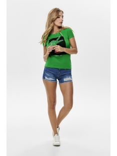onlfancy fit s s face top box co jr 15182747 only t-shirt fern green/peace 2