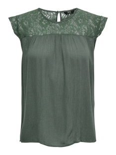 Only T-shirt onlKARMEN S/L TOP WVN NOOS 15157657 Balsam Green