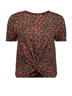 Only T-shirt ONLMAY S/S KNOT  TOP JRS 15184713 High Risk Red