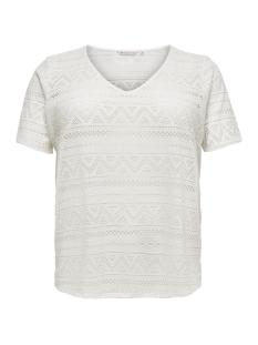 Only Carmakoma T-shirt CARGREEN S/S TOP V-NECK 15178108 Cloud Dancer