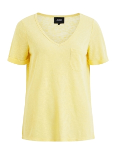 Object T-shirt OBJTESSI SLUB S/S V-NECK SEASONAL 23026968 Elfin Yellow