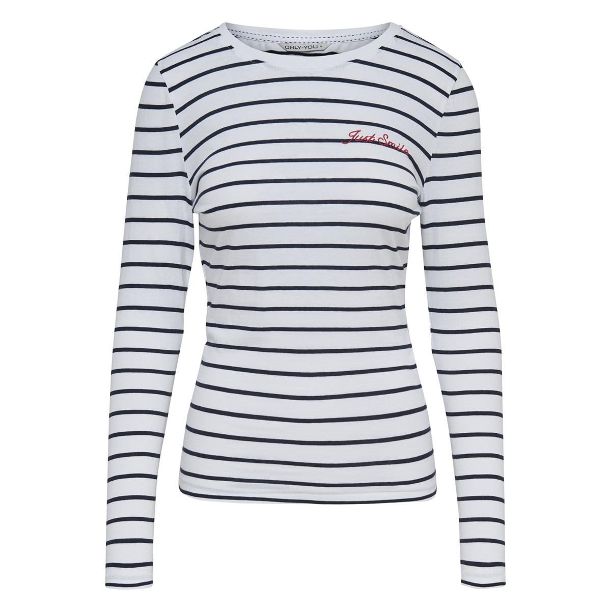 onykira l/s top box jrs 15178084 only t-shirt bright white/night sky