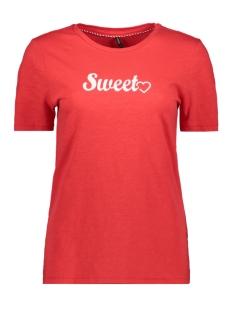 Only T-shirt ONLVAYA REG S/S TOP BOX CO/SL JRS 15182865 High Risk Red/SWEET