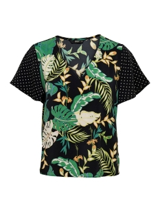 Only T-shirt ONLLIMA S/S V NECK TOP WVN 15176472 Black/DISCO JUNGLE