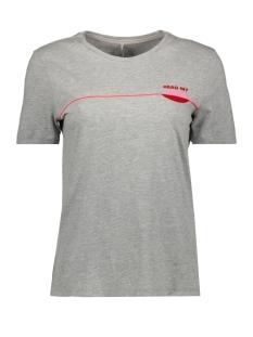 onlkita reg  s/s lips top box co  j 15182333 only t-shirt light grey melange/read my lips