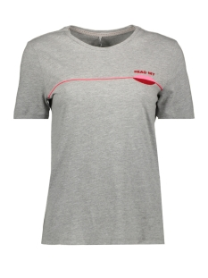 Only T-shirt ONLKITA REG  S/S LIPS TOP BOX CO  J 15182333 Light Grey Melange/READ MY LIPS