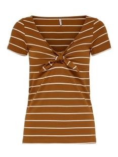 onllive love s s knot top jrs 15180225 only t-shirt sugar almond/cloud dancer