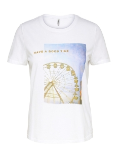 Only T-shirt ONLINDRE REG S/S WONDER/TIME TOP BO 15182750 Bright White/HAVE A GOOD