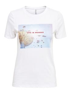 Only T-shirt ONLINDRE REG S/S WONDER/TIME TOP BO 15182750 Bright White/LIVE IN WONDER
