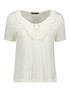 Only T-shirt ONYISA S S CROCHET TOP JRS 15178093 Cloud Dancer