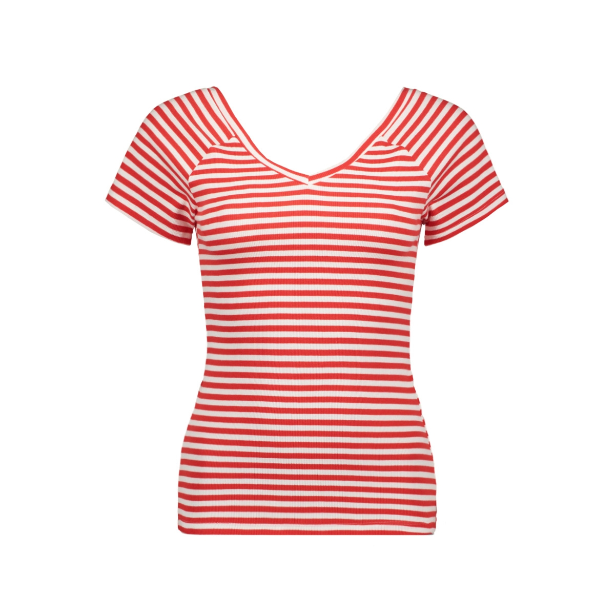 onylabella s s v neck top jrs 15178098 only t-shirt bright white/flame scarlet