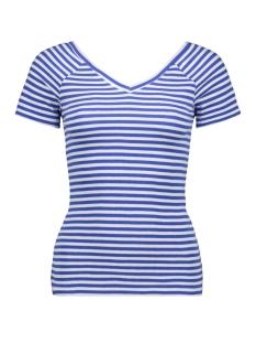 Only T-shirt ONYLABELLA S S V NECK TOP JRS 15178098 Cloud Dancer/DAZZLING BLUE