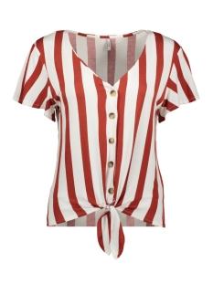 Only T-shirt ONLFNICE S/S KNOT TOP JRS 15181033 Cloud Dancer/KETCHUP