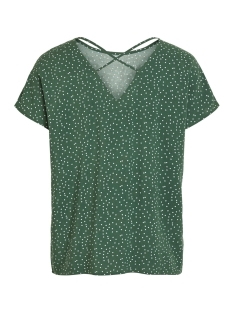 objclarissa s/s top 103 23029806 object t-shirt black forest/w. white dots